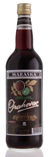 Vorderansicht der 1 Liter Flasche des Orahovac von Maraska